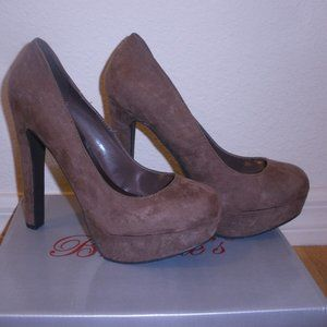 "New Womens Taupe Suede Feel 5.5"" High Heels Sz 8.5"